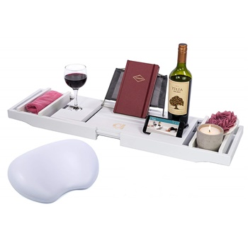Adorn Home Essentials Bamboo Bathtub Caddy Wine Holder
