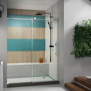 DreamLine Enigma-X 56-60 in. W x 76 in. H Fully Frameless Sliding Shower Door