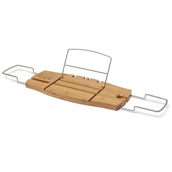 Umbra Aquala Bamboo and Chrome Extendable Bathtub Tray Caddy